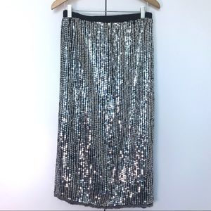 Silver Sequins Midi Skirt Size L